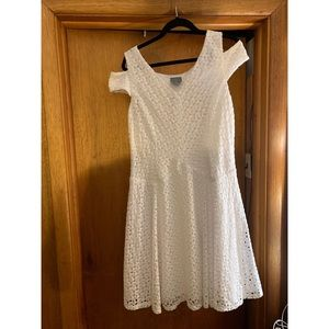 Cold shoulder white lace dress